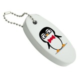 Cartoon Penguin with Bow Tie and Glasses Floating Foam Keychain Fishing Boat Buoy Key Float