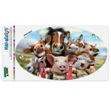 Farm Selfie Horse Pig Chicken Donkey Cow Sheep Automotive Car Refrigerator Locker Vinyl Euro Oval Magnet