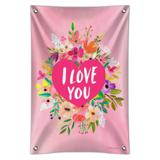 I Love You Flower Heart Wreath Home Business Office Sign