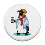 Cool Penguin Hipster with Coffee Compact Pocket Purse Hand Cosmetic Makeup Mirror