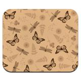 Butterflies and Dragonflies Flower Insect Pattern Low Profile Thin Mouse Pad Mousepad