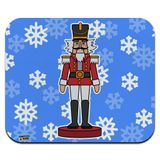 Grinning Nutcracker Soldier with Snowflakes Low Profile Thin Mouse Pad Mousepad