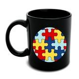 Autism Awareness Diversity Puzzle Pieces Black Mug