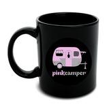Pink Camper Trailer Camping Logo Black Mug