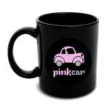Pink Car Logo Black Mug