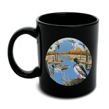 Ducks in the Lake and in Flight Black Mug