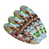 Farm Selfie Horse Pig Chicken Donkey Cow Sheep Double-Sided Oval Nail File Emery Board Set 4 Pack