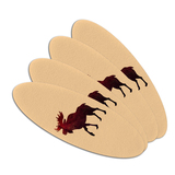 Moose Red Forest Double-Sided Oval Nail File Emery Board Set 4 Pack