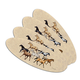 Horses of Different Colors Double-Sided Oval Nail File Emery Board Set 4 Pack