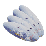 Swan Family on the Lake Double-Sided Oval Nail File Emery Board Set 4 Pack