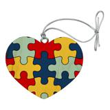 Autism Awareness Diversity Puzzle Pieces Heart Love Wood Christmas Tree Holiday Ornament