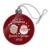 First Christmas as Grandma Grandpa 2018 Santa Mrs. Claus Acrylic Christmas Tree Holiday Ornament