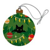 Black Cat Hiding in Christmas Tree Wood Christmas Tree Holiday Ornament