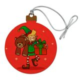 Christmas Elf with Presents and Gifts Wood Christmas Tree Holiday Ornament