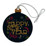Happy New Year Wood Christmas Tree Holiday Ornament