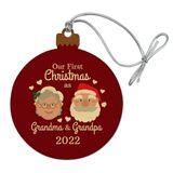 First Christmas as Grandma Grandpa 2018 Santa Mrs. Claus Wood Christmas Tree Holiday Ornament