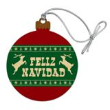 Feliz Navidad with Deer Merry Christmas Wood Christmas Tree Holiday Ornament