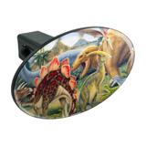 Dinosaurs Jurassic Collage T-Rex Stegasaurus Oval Tow Trailer Hitch Cover Plug Insert