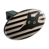 Black Cat In Window Oval Tow Trailer Hitch Cover Plug Insert