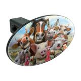 Farm Selfie Horse Pig Chicken Donkey Cow Sheep Oval Tow Trailer Hitch Cover Plug Insert