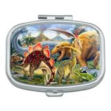 Dinosaurs Jurassic Collage T-Rex Stegasaurus Rectangle Pill Case Trinket Gift Box