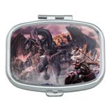 Black Dragon Attacking Flying Fantasy Rectangle Pill Case Trinket Gift Box