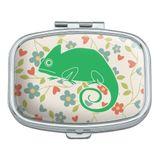 Chameleon Floral Wallpaper Rectangle Pill Case Trinket Gift Box