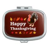 Happy Thanksgiving Turkey Rectangle Pill Case Trinket Gift Box