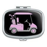 Pink Golf Cart Rectangle Pill Case Trinket Gift Box