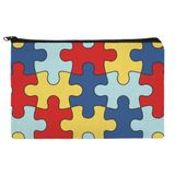 Autism Awareness Diversity Puzzle Pieces Pencil Pen Organizer Zipper Pouch Case