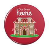 Our New Home Gingerbread House Red Background Pinback Button Pin Badge