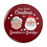 Our First Christmas as Grandma Grandpa Santa Mrs. Claus Pinback Button Pin Badge