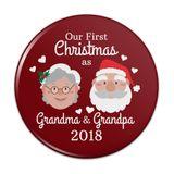 First Christmas as Grandma Grandpa 2018 Santa Mrs. Claus Pinback Button Pin Badge