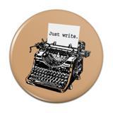 Just Write Antique Typewriter Writer Author Pinback Button Pin Badge