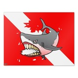 Angry Shark Scuba Diving Flag Diver  Home Business Office Sign