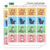 Kawaii Cute Cats Being Bad Planner Calendar Scrapbooking Crafting Square Stickers