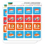 Sushi Lovers with Tuna Nigiri and Cat Planner Calendar Scrapbooking Crafting Square Stickers