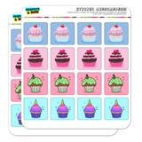 Cute Cupcake Set Sprinkles Chocolate Vanilla Unicorn Planner Calendar Scrapbooking Crafting Square Stickers