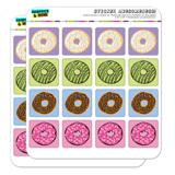 Cute Donuts Sprinkles Chocolate Yummy Planner Calendar Scrapbooking Crafting Square Stickers