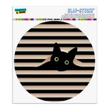Black Cat In Window Automotive Car Window Locker Circle Bumper Sticker