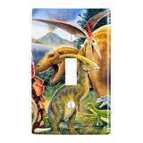 Dinosaurs Jurassic Collage T-Rex Stegasaurus Plastic Wall Decor Toggle Light Switch Plate Cover
