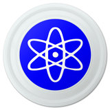 "Atomic Symbol White Blue Novelty 9"" Flying Disc"
