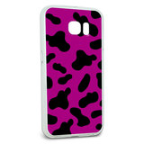 Protective Slim Hybrid Rubber Bumper Case for Galaxy S6 Cow Print Pattern - Fuchsia
