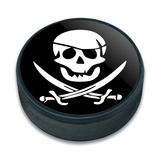 Pirate Skull Crossed Swords Jolly Roger Ice Hockey Puck