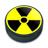 Radioactive Nuclear Warning Symbol Ice Hockey Puck