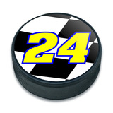 24 Number Checkered Flag Ice Hockey Puck