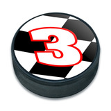 3 Number Checkered Flag Ice Hockey Puck