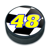 48 Number Checkered Flag Ice Hockey Puck
