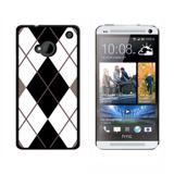 Argyle Hipster Black White HTC One Case