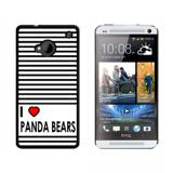 I Love Heart Panda Bears HTC One Case
